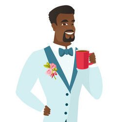 Young african-american groom holding cup of coffee vector