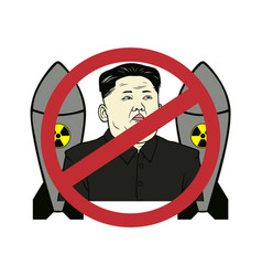 anti kim jong-un control nuclear flat design vector image