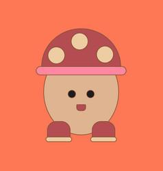 Flat icon on background kids toy mushroom vector