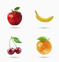 fruits set in polygonal style vector image vector image
