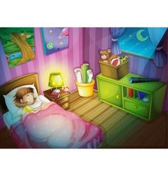 girl sleepin in bedroom at night vector image vector image