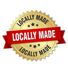 locally made 3d gold badge with red ribbon vector image vector image