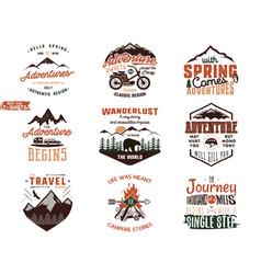 Set of vintage adventure tee shirts designs hand vector