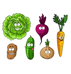 Cartoon fresh vegetables set vector image