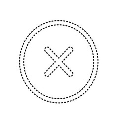 cross sign black dashed icon vector image