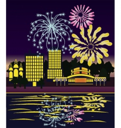 fireworks cityscape vector image vector image