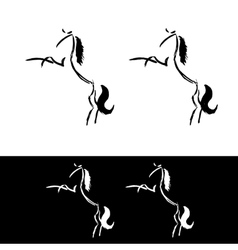 Freehand horse logo More and less detailed vector image