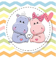 greeting card with two cute hippos vector image vector image