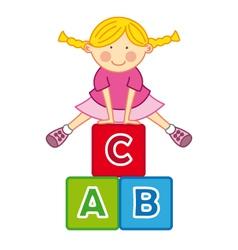 Little girl playing vector image