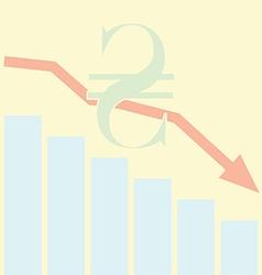 Sales Bar Chart Falling down of Ukrainan Hryvnia vector image vector image