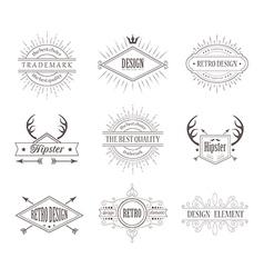 Set of Vintage Labels Line Emblems Frames vector image vector image