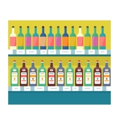 Shelves with Drinks in Grocery Store vector image