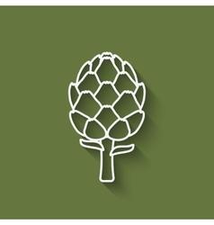artichoke symbol on green background vector image