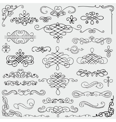 Black Vintage Hand Drawn Swirls Collection vector image vector image