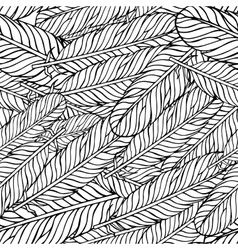 Black white seamless pattern with feathers Boho vector image vector image