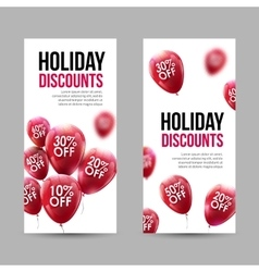 Trendy Holiday Sale Discount Banners set with Red vector image vector image