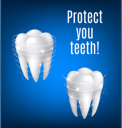 3d white teeth protection for dentistry vector image vector image