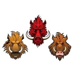 Fierce cartoon wild boar characters vector image vector image
