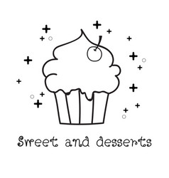 hand drawn of cupcake doodle doodle art vector image vector image