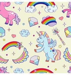 hand drawn unicorns seamless pattern vector image