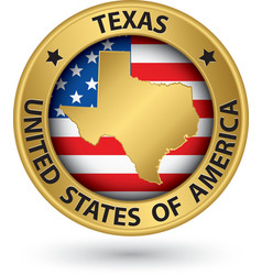 Texas state gold label with state map vector image vector image