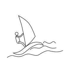 Windsurfing icon outline style vector image vector image