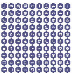 100 fashion icons hexagon purple vector image