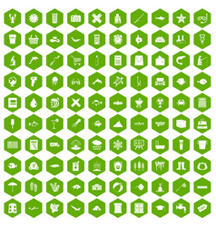 100 fish icons hexagon green vector image