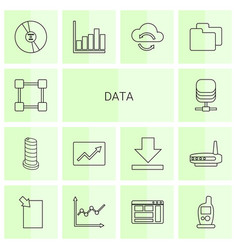 14 data icons vector image