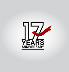 17 years anniversary logotype with black outline vector