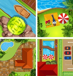 Aerial view of different scenes of parks vector