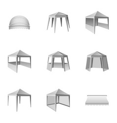 Awning icons set isometric style vector