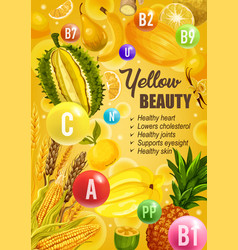 Beauty yellow diet nutrition vitamins food vector