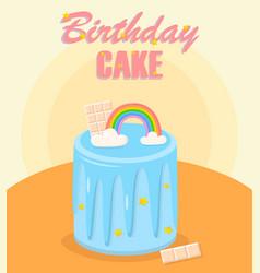 birthday cake with rainbow bar chocolate vector image