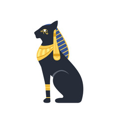 Black egyptian cat bastet ancient egypt goddess vector