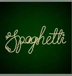 Boiled floury spaghetti text vector