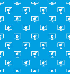 bomb on computer monitor pattern seamless blue vector image