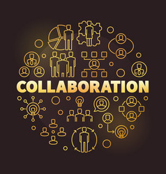 Business collaboration golden round outline vector