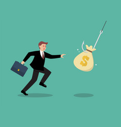 businessman try to pick money bag from hook trap vector image