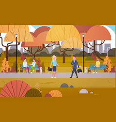 businesspeople walking through autumn park over vector image