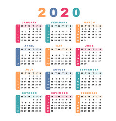 Calendar 2020 week starts with sunday vector