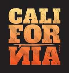 California tee print with surfboard vector