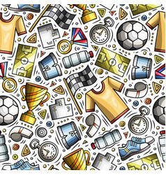 Cartoon cute hand drawn sport seamless pattern vector