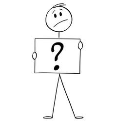 Cartoon man or businessman holding question vector