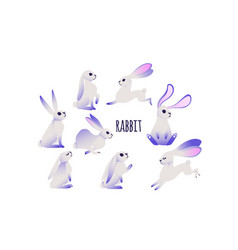 cartoon rabbit with ultraviolet ears vector image