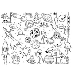 cartoon set alien space elements vector image