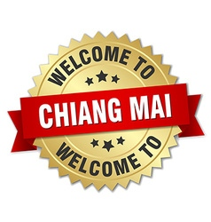 Chiang mai 3d gold badge with red ribbon vector image