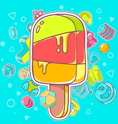 colorful of red ice cream on blue background vector image