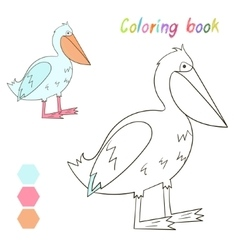 Coloring book pelican kids layout for game vector