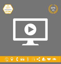 computer with play button icon graphic elements vector image